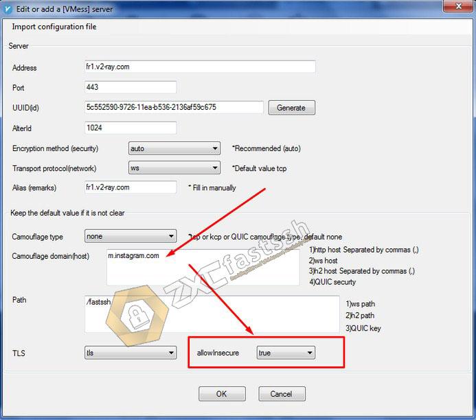 Edit BugHost/SNI V2Ray Windows