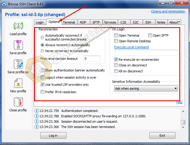 Setting Bitvise SSH Client