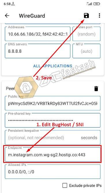 Edit BugHost / SNI Wireguard