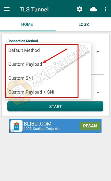 TLS Tunnel Aplication Custom Payload method