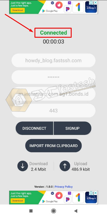 Connect Howdy VPN on Android