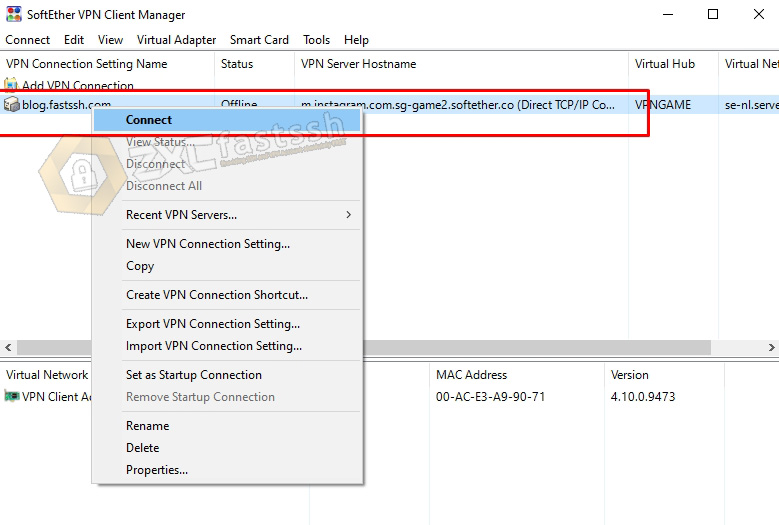 Connect Softether VPN on Windows